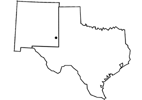 Map showing the service area states, New Mexico and Texas